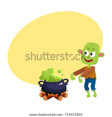 scary green zombie monster and