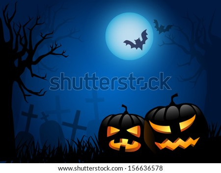 Scary Halloween background with shining lanterns in a graveyard
