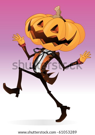 Scary Halloween Character with a Pumpkin for a head with a dandy looking human body