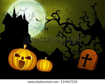 Scary Halloween moon night with pumpkins, gravestone, dead tree and haunting house. EPS 10.