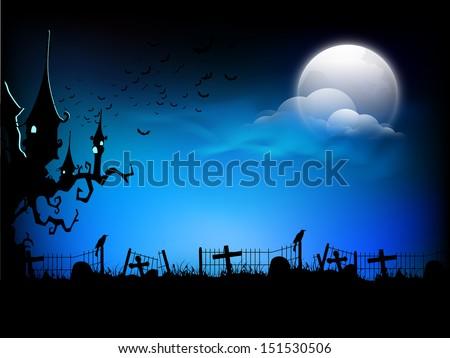 scary halloween moonlight night