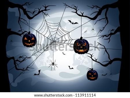 Scary Halloween night background, illustration