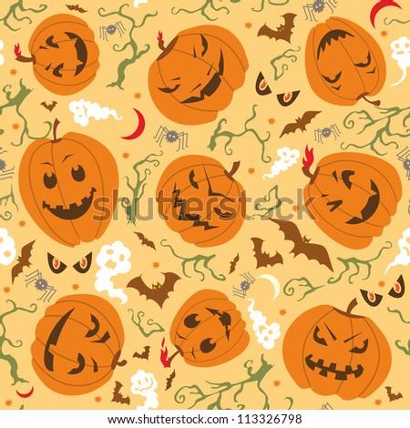 Scary Halloween Seamless Pattern