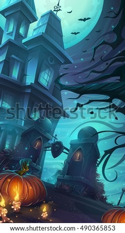 Scary horrible Halloween party - vector illustration