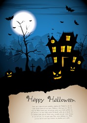 Scary house - Halloween poster with place for text