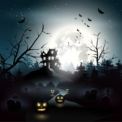 Scary house in the woods - Halloween background