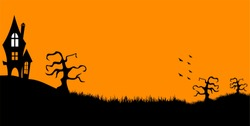 Scary house on the hill gnarl trees and flying bats. Vector illustration of Halloween background