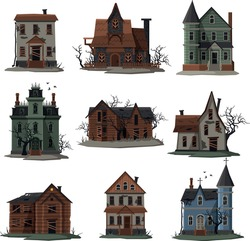 Scary Houses Collection, Halloween Haunted Mansions with Boarded Up Windows Vector Illustration on White Background