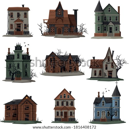 Scary Houses Collection, Halloween Haunted Mansions with Boarded Up Windows Vector Illustration on White Background Foto d'archivio ©