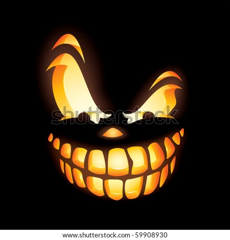 Scary Jack O Lantern in the dark