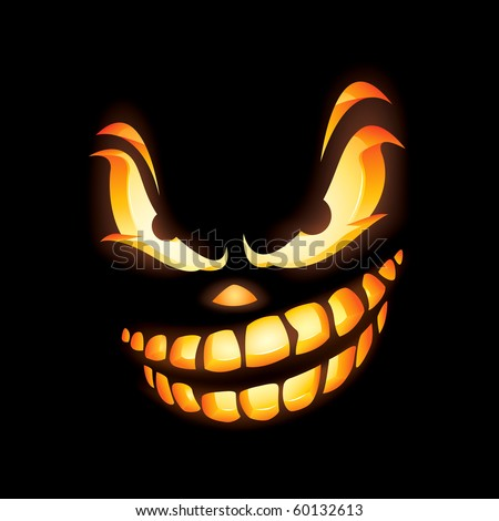 Scary Jack O Lantern in the dark with fierce expression