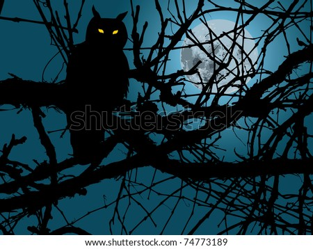 scary moonlight forest background with silhouette of owl