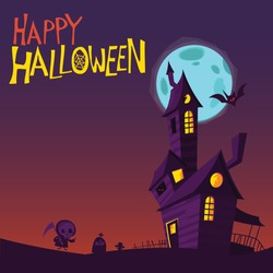 Scary old haunted house with ghosts. Halloween cartoon background illustration. Poster or invitation placard design for Halloween party