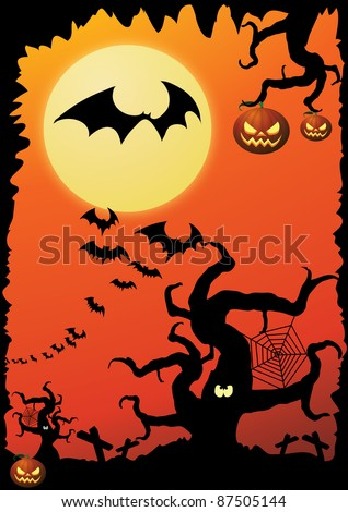 scary orange mad eye moon Halloween poster - stock vector