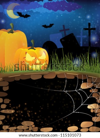 Scary pumpkin heads on a night cemetery. Abstract Halloween  background