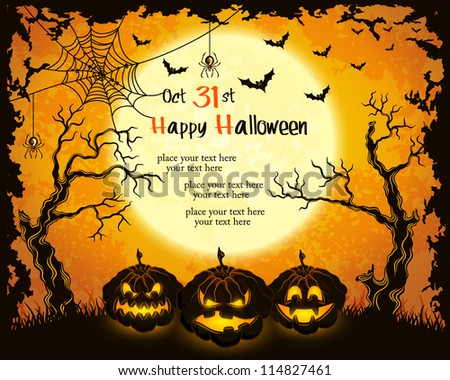 Scary pumpkins, full moon, trees and bats. Orange grungy halloween background. Vector Illustration.