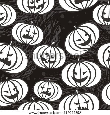scary pumpkins monochrome halloween  seamless pattern