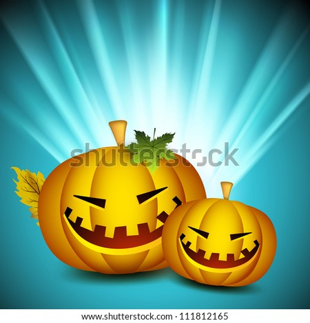 Scary pumpkins on shiny rays background. EPS 10.