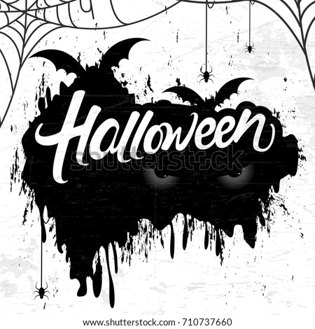 Scary Retro background for Happy Halloween with stylish text of Halloween, Bat, Eyes, Spiders and Web.