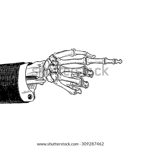 scary skeleton hand pointing