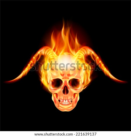 scary skull on fire with demon