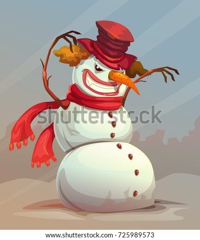Scary snowman vector  illustration. Fearful snow monster.