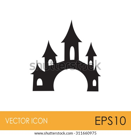 scary spooky castle vector icon