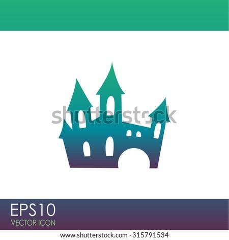 scary spooky castle vector icon