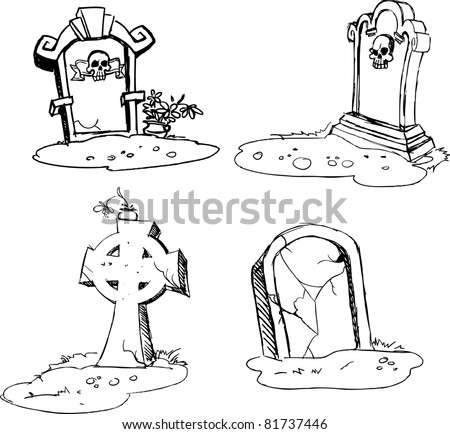 scary tombstones in Halloween night. outlines