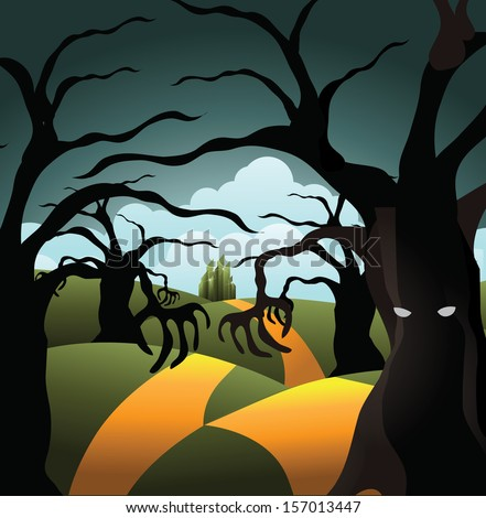 Scary tree forest on the road to the Emerald City. EPS 10 vector, grouped for easy editing. No open shapes or paths.