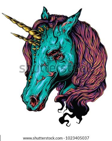 scary unicorn vector