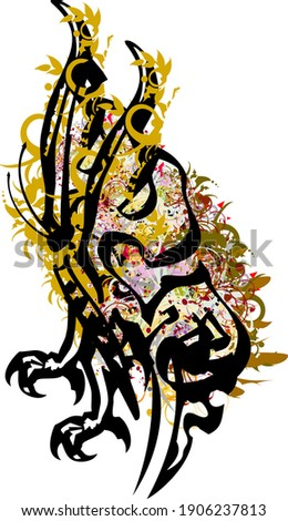 Scary unusual floral butterfly symbol. Illustration of a dangerous fantastic butterfly with eagle paws and golden elements, color floral splashes on a white background