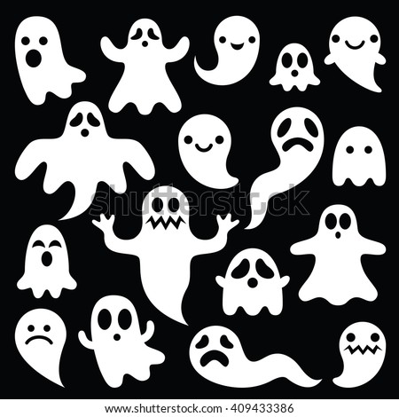 scary white ghosts design on