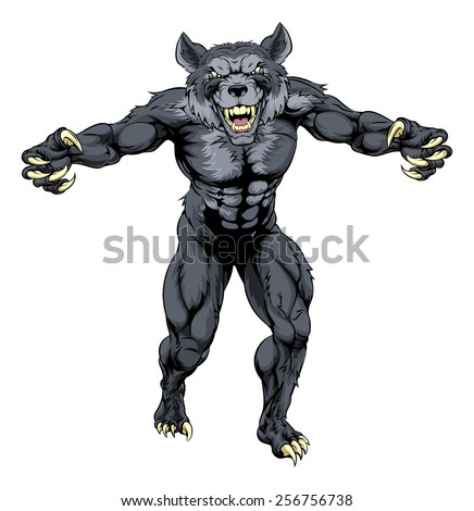 scary wolfman werewolf or wolf