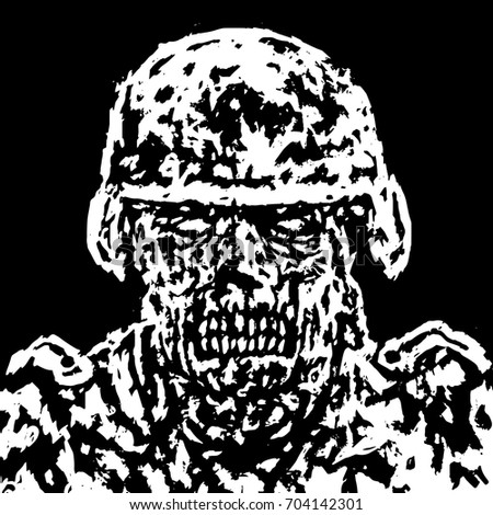 scary zombie soldier concept