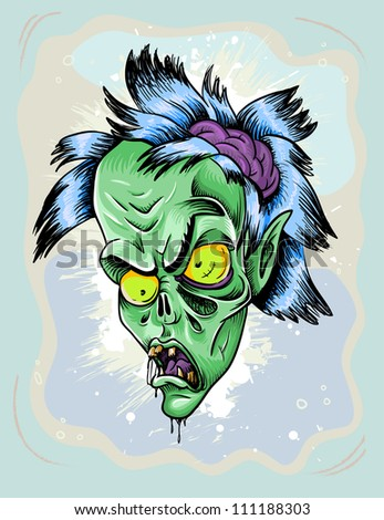 scary zombie woman vector