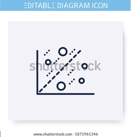 Scatter plot line icon.Cartesian coordinates. Science, analytics and business, visualisation. Infographic, presentation or planning scheme.Simple design. Isolated vector illustration. Editable stroke  Photo stock ©