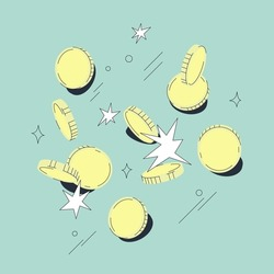 Scattered coins vector illustration isolated on blue background. Contemporary comic design. Money or business concept.