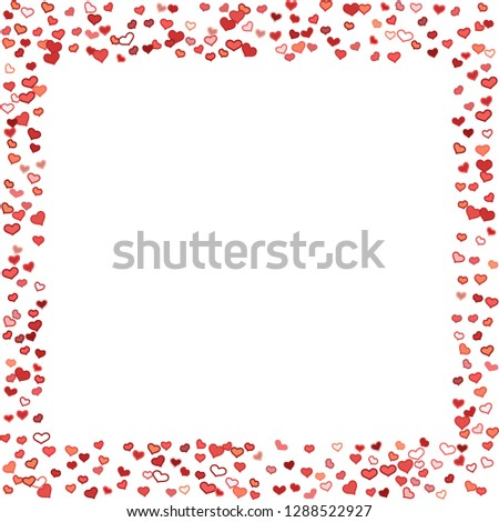 Scattered doodle red hearts frame on white background. Doodle heart Valentines Day confetti card. Template for February 14th. Vector illustration for greeting, special business ad, voucher, banner. #1288522927