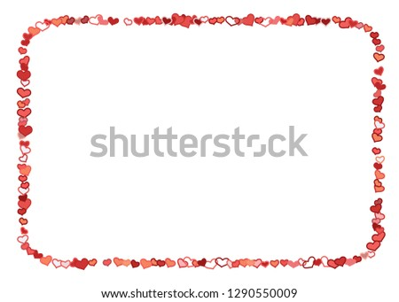 Scattered doodle red hearts frame on white background. Doodle heart Valentines Day confetti card. Template for February 14th. Vector illustration for greeting, special business ad, voucher, banner. #1290550009