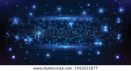 Scenario of big data computing information technology.Future tech concept.Vector illustrations. Foto d'archivio ©