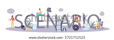 Scenario typographic header concept. Person create a screenplay for movie. Author writing new scenario for cinematography. Hollywood industry. Isolated vector illustration Foto d'archivio ©