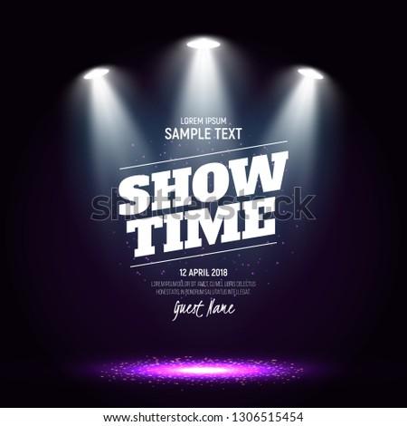 Scene for presentation. Showtime banner illuminated by spotlights. Vector illustration.