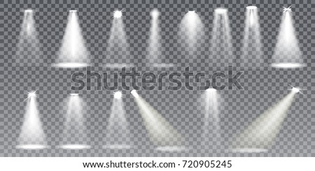 Shutterstock Scene illumination big collection, transparent effects. Bright lighting with spotlights. Vector Illustration