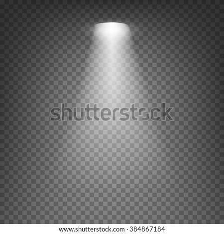 Scene illumination cold white light effect on transparent background. Vector illustration.