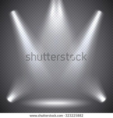 Scene illumination, transparent effects on a plaid dark  background. Bright lighting with spotlights.
