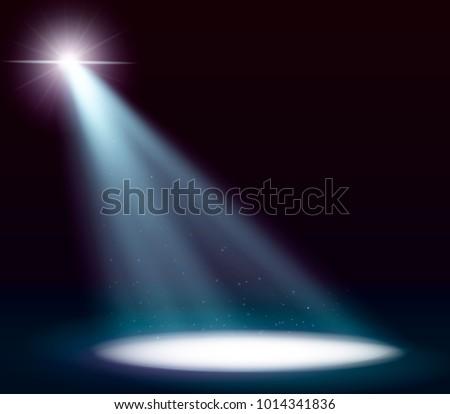 Scene illumination, transparent effects on a plaid dark background. Bright lighting with spotlights.