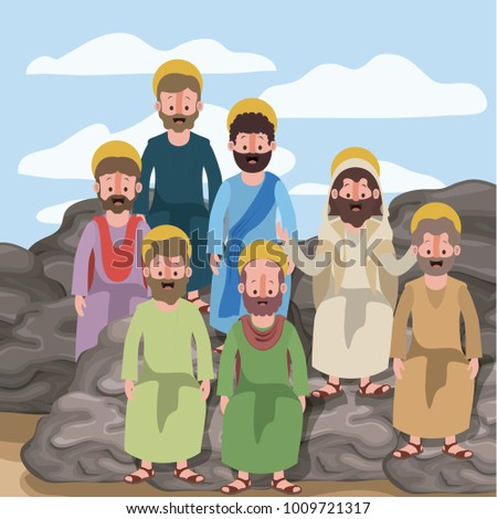 scene in desert with group of apostles next to the rocks in colorful silhouette