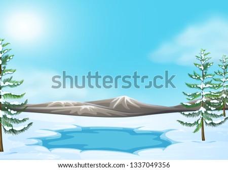 Scene in Winter scene illustration