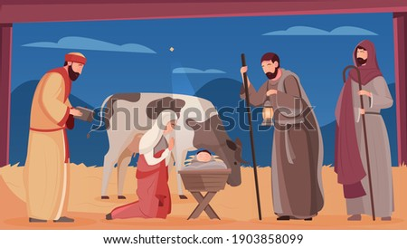 Scene of jesus christ birth in wooden manger flat vector illustration Stock photo ©